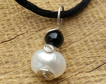Tiny Little Fresh Water Pearl Swirl Pendant Necklace With Black Onyx, Small Pearl Necklace, Sterling Silver Wire Wrapped
