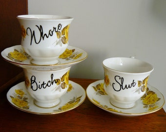 Bad Girls  hand painted vintage bone china tea set trio recycled humor loose women tea party SALE