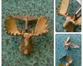 Vintage 1970s Cufflinks Moose 10K Gold Ruby Cuff Links