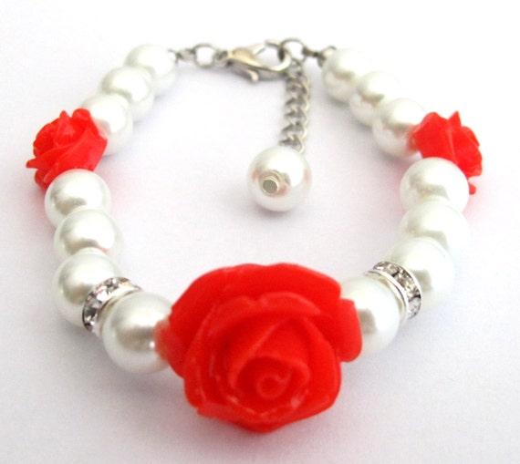 Pearl Bracelet With Flower Girl Bracelet, Pearl Childrens Bracelet, Flower Girl Gift, Pearl Childs Bracelet Free Shipping In USA