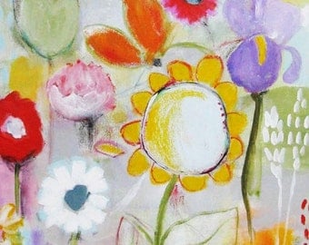 Original painting, Tangled Garden, mixed media on canvas, acrylics, oil pastels, graphite