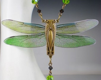 Dragonfly Necklace Olive Peridot Green Art Nouveau Vintage Inspired Dragonfly Jewelry
