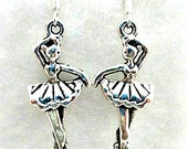 Ballerina Charm Pierced Earrings on 925 Silver Wires - Ballet Dance Earrings Jewelry Gift