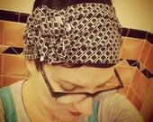 black and white mod print flapper girl headband