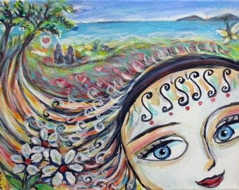 Sweet memories Love Happy butterfly spiritual hawaii surrealism original painting 14 x 11 by Angie