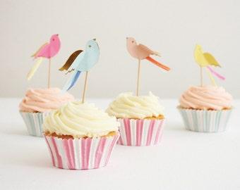 Pretty Birdies Shabby Chic Cupcake Toppers Party Kit Meri Meri