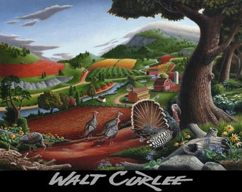 Americana Folk Art, Wild Turkeys, Rural Country Farm Landscape Giclee Canvas Print, Autumn Decor, Thanksgiving