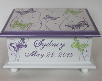 Baby Keepsake Box - Baby memory box lavender butterfly meadow personalized baby girl gift hand painted baby shower gift