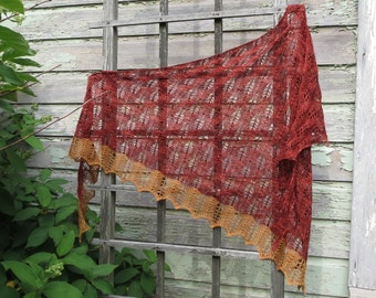 MASALA Handknit Shawl Scarf Merino Wool OOAK