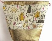 Project Bag Cats Kittens Wool Knitting Knit Drawstring Fabric WIP Cotton Metallic Denim