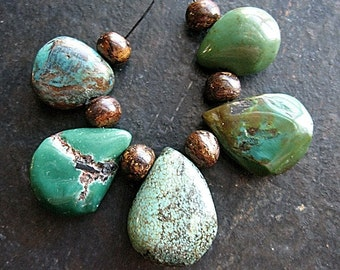 Free Form, Natural Turquoise Teardrop Briolette Necklace Centerpiece no.2 - set of 5