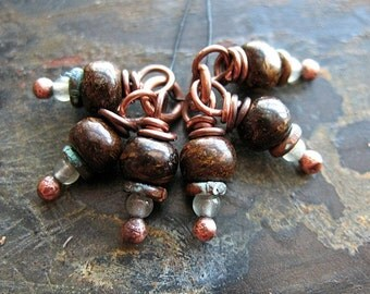 Bronzite and Antiqued Copper Bead Charms - 1 Pair - 6 pieces