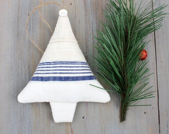 Vintage Linen Christmas Tree Sachet with Blue Stripes, Scandinavian Decor