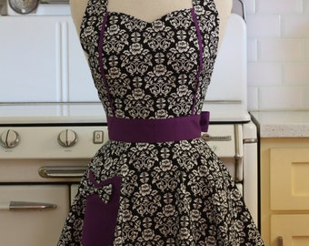 Retro Apron Black and White Floral Damask with Purple MAGGIE