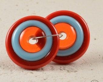 Handmade Lampwork Matching Pair Disc Beads - Orange, Turquoise, Red