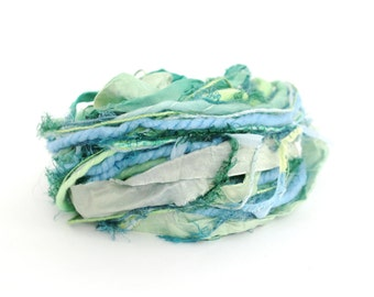 Creative Yarn Ribbon Variety Pack, Lush Landscape, 30 metres, turquoise blue lime green embellishment trim