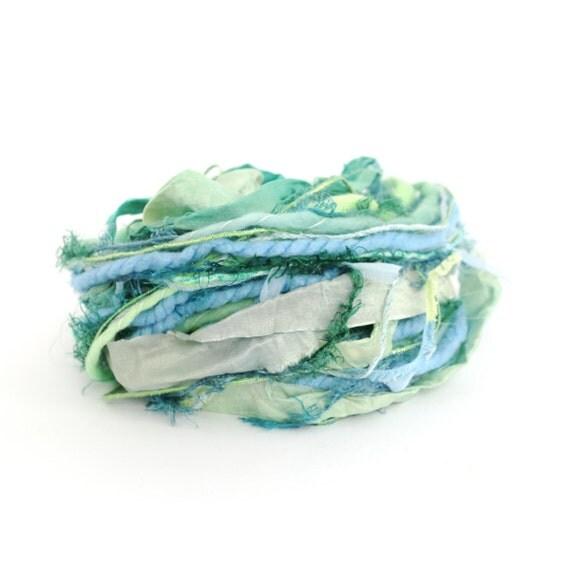 Creative Yarn Ribbon Variety Pack, Lush Landscape, 30 metres, turquoise blue lime green embellishment trim, art yarn bundle