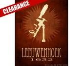 6x9 Mircobiologist Art, Leeuwenhoek Rock Star Star Scientist Poster, Steampunk Vintage Microscope Illustration, Steampunk Poster