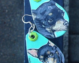 craigslist Olive!  - hand-painted black chihuahua earrings