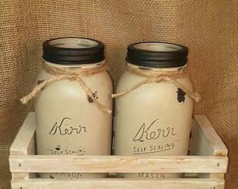 Kerr Mason Jar Vase  or Organizer Set - Chalk Painted - Taupe - Burlap Accent