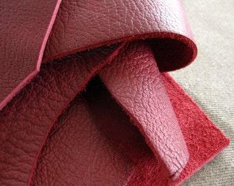 Leather scrap - half pound - Port burgundy bull hide