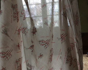 French Themed Fabric/Vintage Sheer Lightweight Textile/Eiffel Tower,Can-Can Girl,Gay Paree,Cafe' De' Paris,Arch De' Triumph