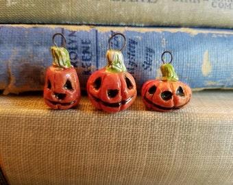 Handmade Sculpted Jack O'Lanterns Halloween Pumpkin Charms Ceramic Pendant Beads  and Pink