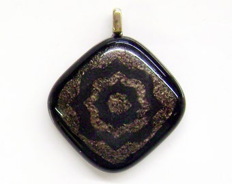 Fused Glass Pendant in Aged Bronze and Black