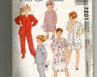 McCall's Boys' and Girls' Sleepwear Pattern 7201