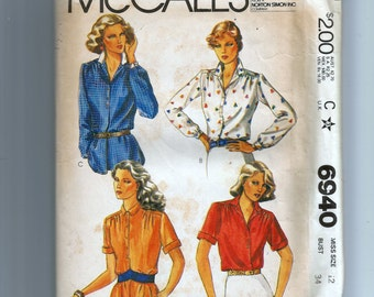 McCall's Misses' Blouses Pattern 6940