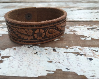 Custom Leather Cuff-Create Your Own-Vintage Tooled Leather-Word Cuff