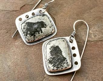 Sterling Earrings, Artisan Earrings, Industrial Look Statement Earrings, Golden Chalcopyrite in Black Schist, Apache Gold Earrings