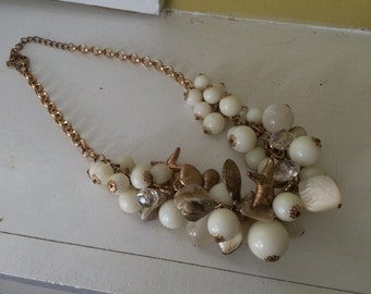 Seashell Bib Necklace / Gold / White round beads / Starfish Conch / Beach