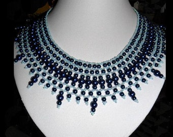 Blue Pearl Collar Necklace