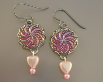 In the Pink - Vintage Pink Czech Glass Buttons, Bezels, Rosary Beads, Niobium Wires Recycled Repurposed Jewelry Earrings