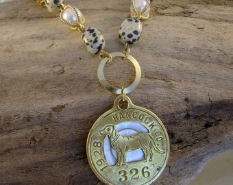 Doggie Mom - Antique 1928 Hancock County Brass Numbered Dog Tag Dalmation Beads Pearls Recycled Assemblage Jewelry Necklace
