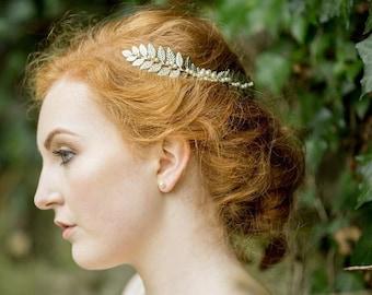 Handmade Silver Leaf and Pearl Headpiece, Laurel
