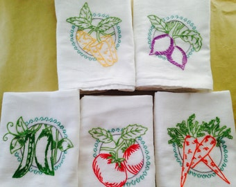 Pick a Pair Fruits and Veggies Hand Embroidered Dish Towels