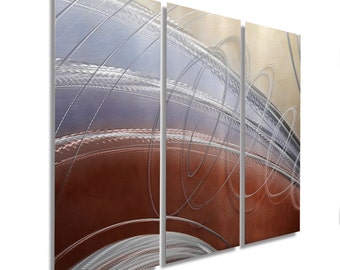 NEW! Brown, Blue & Silver Modern Metal Painting - Contemporary Metal Wall Art - Wall Hanging - Home Accent - Cosmic Latte 3 by Jon Allen