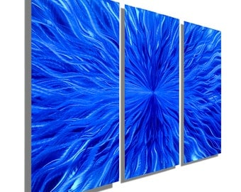 Multi Panel Contemporary Metal Wall Decor in Blue, Modern Metal Wall Art, Set of 3 Abstract Wall Sculpture - Blue Vortex 3p by Jon Allen