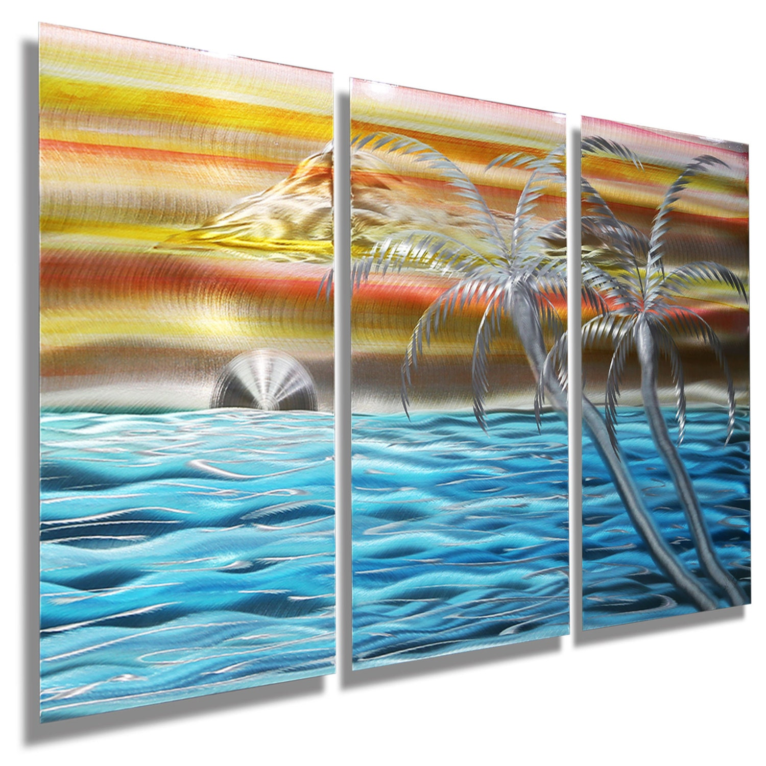 New nautical painting tropical metal wall art beach decor for Tropical metal wall art
