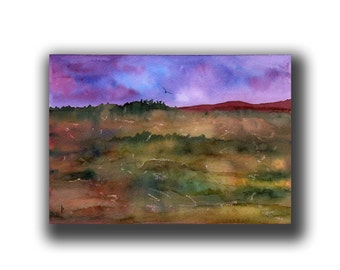 NIGHT MOVES original watercolor SFA landscape at dusk