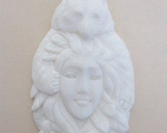 MS Bear Sheltering Goddess Carved Bone Pendant Fair Trade Bali