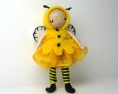 Bumble Bee Bendy Doll by Princess Nimble-Thimble, Bug, Honey Bee, Bendable Felt Bee, Waldorf Girl Doll