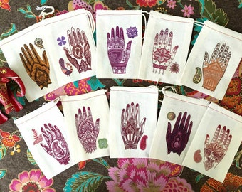 Henna Ceremony | Mehndi WEDDING Shower Favor Bags | South Asian Indian Bridal Shower | Muslim Engagement | Voni Function | 4x6 | Set of 20