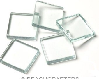 20 ct - 3/4 inch CLEAR Glass Mosaic Tiles - Great for decoupage or painting, jewerly making