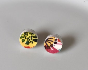 ETSYVERSARY SALE Simple Circle Broken China Stud Earrings - Pink and Yellow