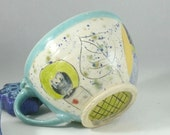 Ceramic Soup Mug or Latte Cup handled bowl / pottery soup bowl with handle, oversized mug -  cereal bowl - aquamarine kitchen bowl - SM239