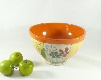 Pottery Soup Bowl, Colorado pottery, Orange Ceramic Salad Bowl, Decorative Vessel, Key Bowl, Home Decor 466