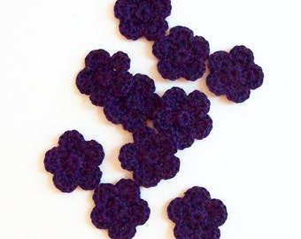 Mini Crochet Flower Appliques, Dark Purple Flower, Flower Embellishment, Scrapbooking, Set of 10, Miniature Flower, Crochet Flower Motif
